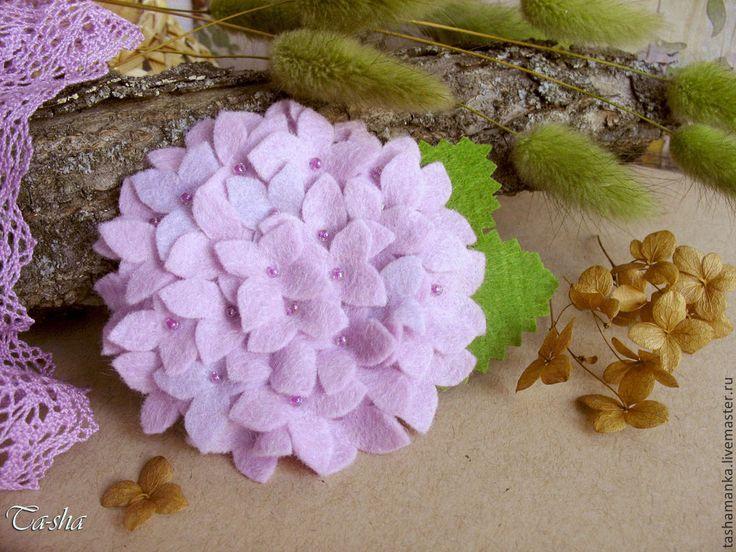 """Купить Брошь цветок """"Гортензия нежно-сиреневая"""" - брошь цветок, брошь-цветок"""