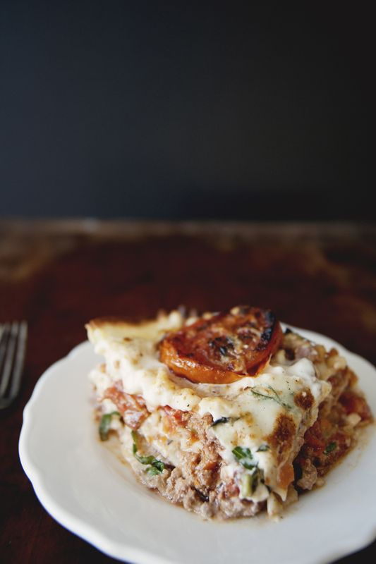 Classic Lasagna With Ragu Bolognese, Bechamel, Basil, Burrata and Roasted Tomatoes