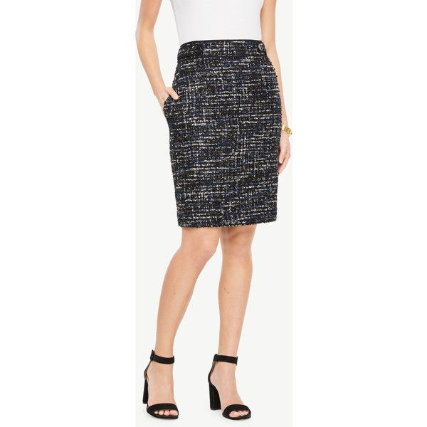 Ann Taylor Petite Sequin Tweed Button Tab Skirt ($79) ❤ liked on Polyvore featuring skirts, blue tweed, long skirts, wet look skirt, shiny skirt, tweed skirt and petite skirts