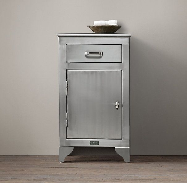 1930s laboratory stainless steel storage cabinet short