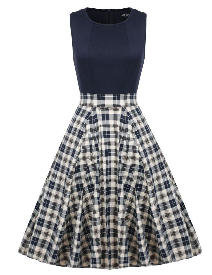 ACEVOG Women Plaid Sleeveless Vintage Swing Bridesmaid Dress Navy Blue M