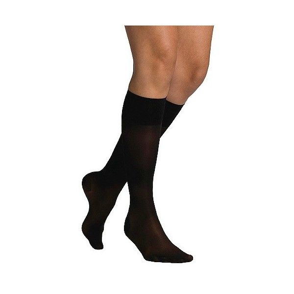 Women's Sheer Compression Knee-hi B Black ($28) ❤ liked on Polyvore featuring intimates, hosiery, tights, black, transparent tights, sigvaris, sheer hosiery, latex tights and latex stockings