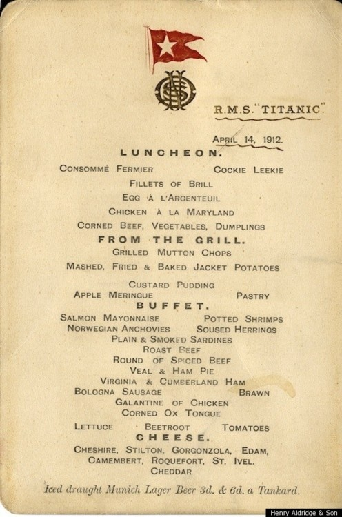 Luncheon Menu Dated April 14, 1912 From The Titanic