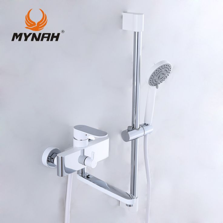 MYNAH Russia Free Shipping Bathroom Faucet Shower Faucets Bath Mixer Shower System Tropical Shower Shower Rack With Mixer
