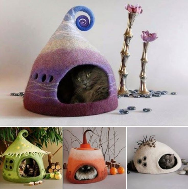 Felted cat houses by Yuliya Kosata