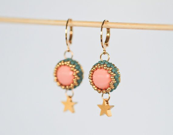 Check out this item in my Etsy shop https://www.etsy.com/listing/474641240/golden-star-earrings-beaded-earrings