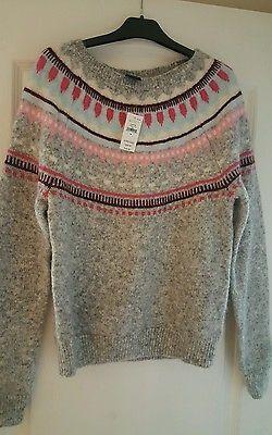 Ladies Stunning Wool Christmas Jumper Grey/Pink Size Medium Unworn with Tag