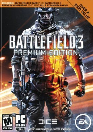 Own more with the Battlefield 3 Premium Edition! This is the ultimate Battlefield 3 experience for everyone from first-time players to experienced Battlefield vets. The Battlefield 3 Premium Edition delivers all the drivable vehicles, destruction and team play of Battlefield 3 plus Battlefield 3 Premium membership, which includes all five Battlefield 3 expansion packs, and the Multiplayer Head Start Kit to even the playing ground when you log into multiplayer.  Price: $42.00