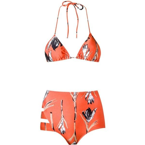 Giuliana Romanno printed triangle bikini set ($139) ❤ liked on Polyvore featuring swimwear, bikinis, orange bikini, yellow bikini, triangle bikinis, high waisted two piece and high-waisted bikinis