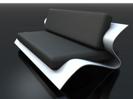 Sofa bend par Stéphane Perruchon. Black and white sofa