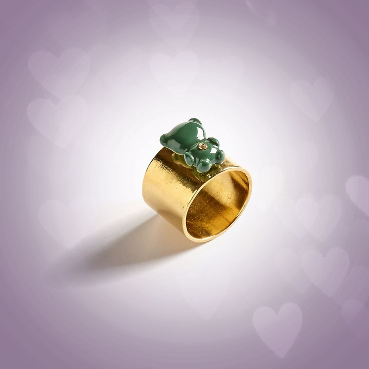 Teddy ring. Sterling silver gold plated with green teddy porcelain. info@anajoaojewelry.com