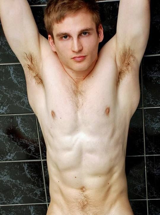 nude men with a hairy armpits