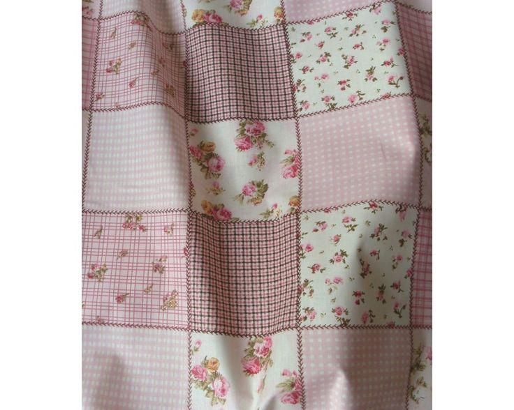 Patchwork mintás pamut vászon, rózsaszín