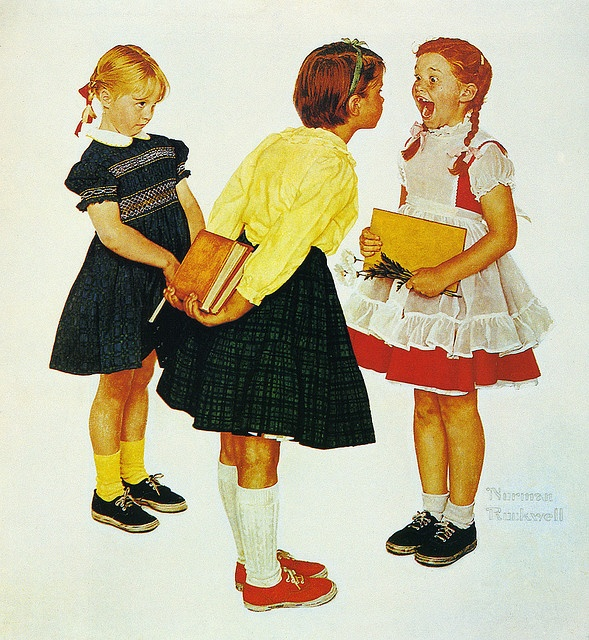 1957--Checkup - by Norman Rockwell  This pretty much sums up my day today and was all I could think about watching one of my kids show her wiggly tooth to her sister. Love.