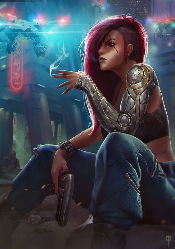 Took u long enough.. by Callergi female fighter rogue thief assassin cyberpunk cyborg robot gun pistol armor clothes clothing fashion player character npc | Create your own roleplaying game material w/ RPG Bard: www.rpgbard.com | Writing inspiration for Dungeons and Dragons DND D