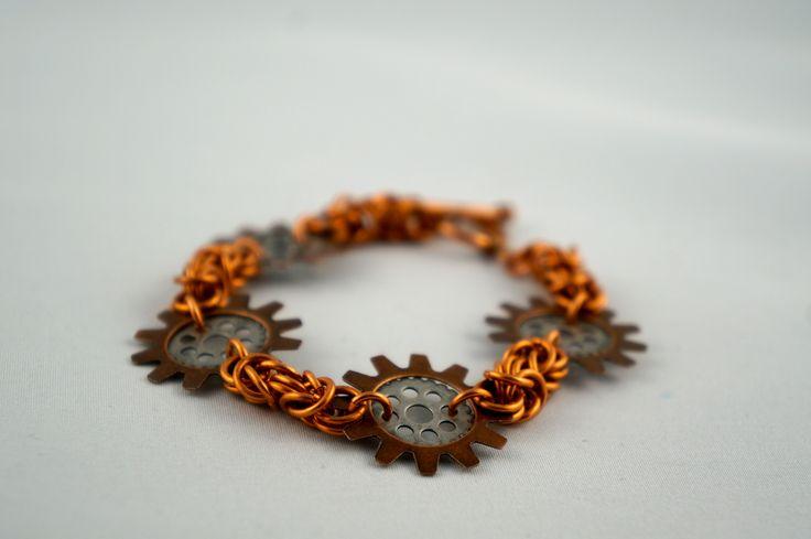 Copper geared bracelet