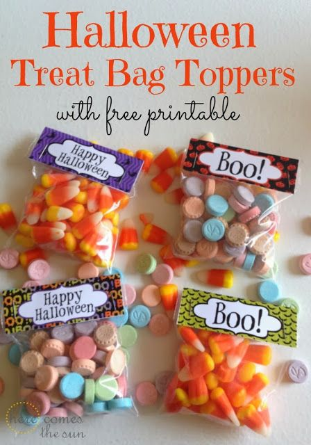 Halloween Treat Bag Toppers with free printable.