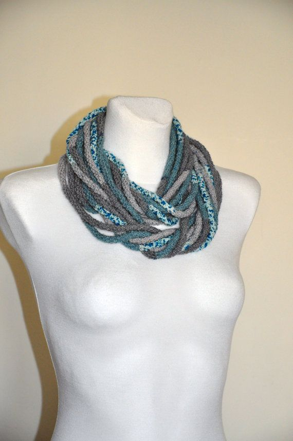 Grey and Mint Ifinity Scarf Grey and Turquoise by aboutCRAFTS