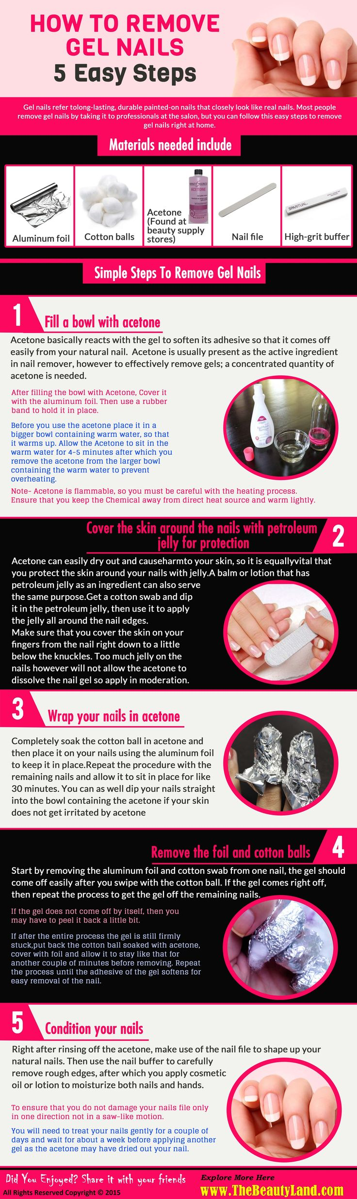 How to Remove #Gel #Nails – 5 Easy Steps http://www.thebeautyland.com/how-to-remove-gel-nails/ #nailcare                                                                                                                                                                                 More
