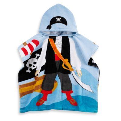 Printed Pirate Hooded Velour Kids Beach Towel in Multi/Black - BedBathandBeyond.com {G}
