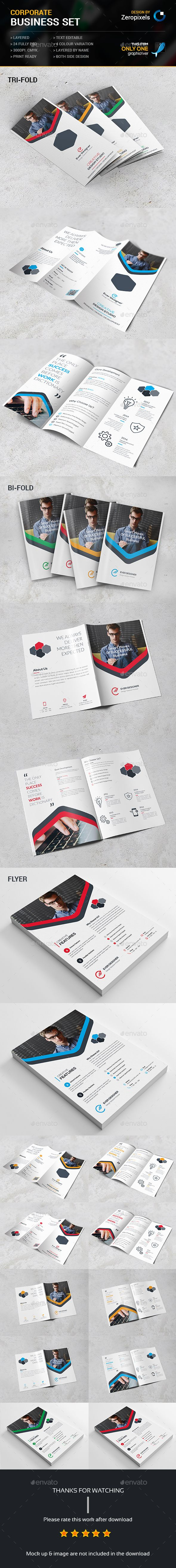 Corporate Business Brochures Set-Flyer, Trifold, Bifold