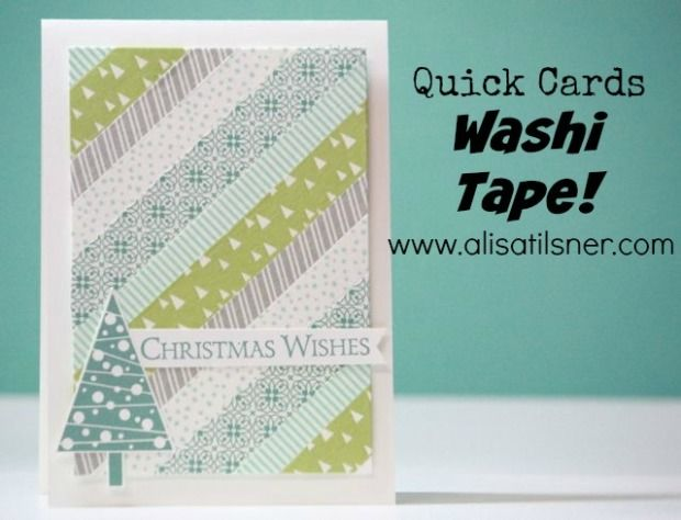 Quick Washi Tape Card ... diagonal strips on background panel ... Christmas theme ... Stampin' Up!
