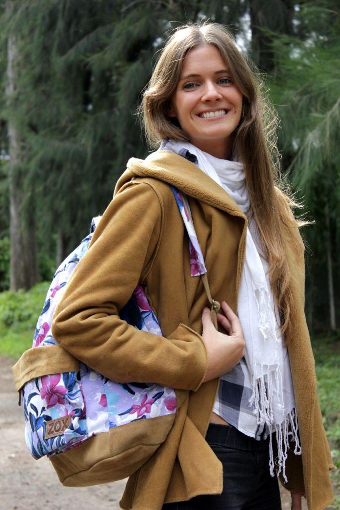 Flowers Backpack - Mochila floreada con gamuza - ZOX zapatos