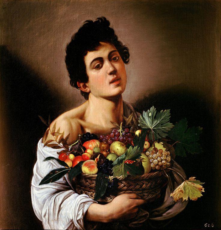 Caravaggio or Michelangelo Merisi o Amerighi da Caravaggio (Italian 1571?–1610) [Baroque] Boy with a Basket of Fruit, circa 1593. Galleria Borghese, Rome.
