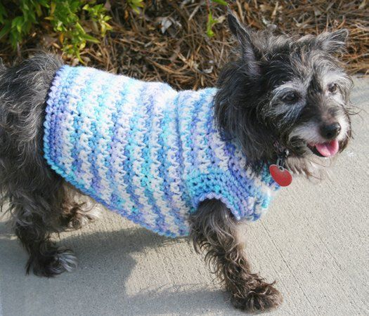 Dog Sweater Crochet - Looks like a dog poncho to me....but I know a couple of special dogs that would enjoy this in the winter.