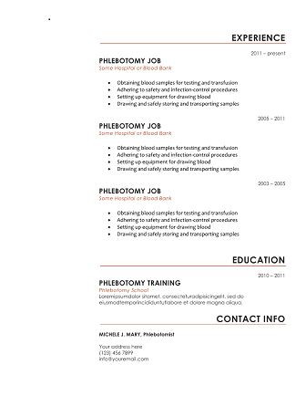 Best Resume Templates Images On   Phlebotomy Resume