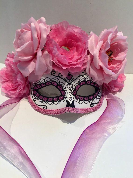 Day of the dead Mask-skull Mask -pink mask-masquarade Mask- Costume party mask- Purim- Masquerade Ball- Mardi Gras Mask-Día de Muertos