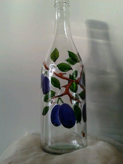 Kézzel festett szilva mintás üveg