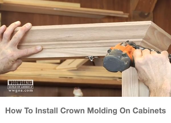 Nothing dresses up a cabinet like crown molding. The best way to fasten the molding is with glue and brad nails. Check out these tricks for keeping your crown molding installation neat and professional looking. Watch now: http://www.wwgoa.com/video/001117_installing-crown-molding-on-a-cabinet/?utm_source=pinterest&utm_medium=organic&utm_campaign=A217 #WWGOA