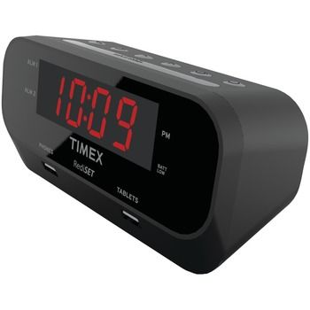 Timex Rediset Dual Alarm Clock With Dual Usb