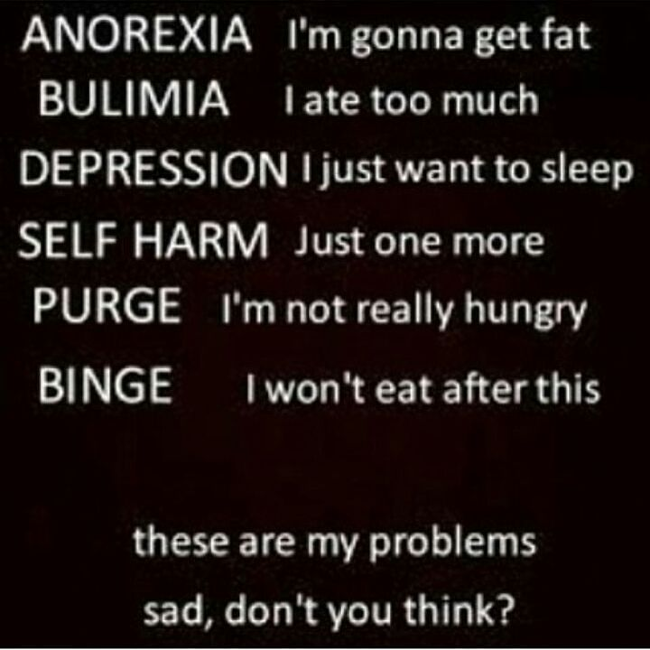 Bordering on anexoria. Binging yes. Self harm yes. Depression yes. Self hating yes. Anxiety yes. All this shit I have to deal with and I can't do it anymore. I should kill myself already and get the fucking guts to do so to END MY PAIN!!