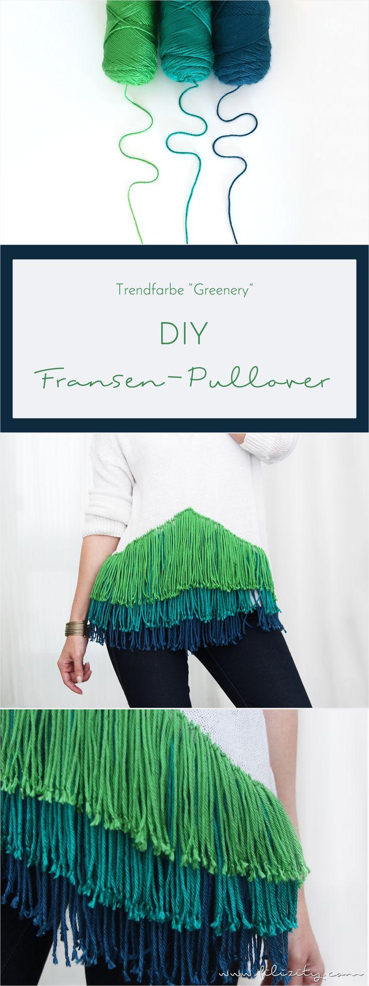 DIY Fransen-Pullover in Greenery Grün und Blau #fransen #greenery