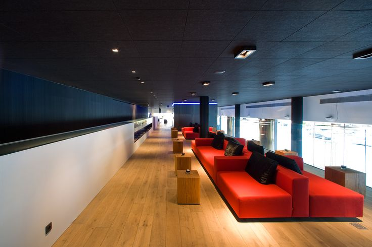 Charcoal ceilings in the Carbon Hotel by Rockfon as Manufacturers