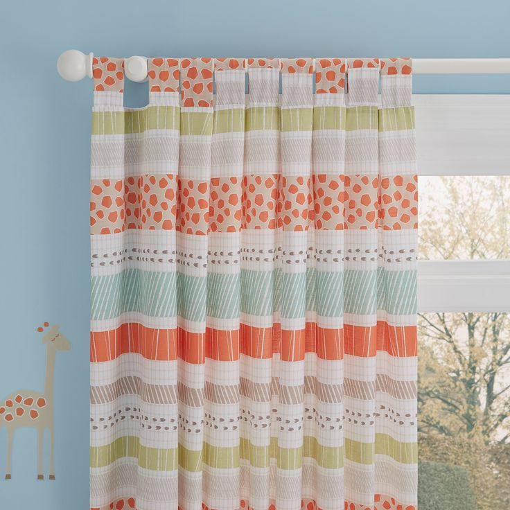Animal Cream & Orange Striped Printed Tab Top Children's Curtains (W)168cm (L)137cm | Departments | DIY at B&Q