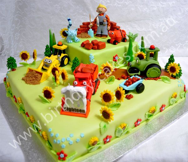 Bob the Builder Cake... Very clever! Another idea for my little man's b'day!