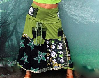 M verde fantasía patchwork arte pop reciclado falda larga