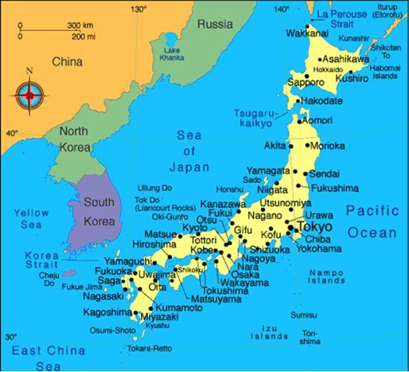 Japan Japan is een groep eilanden gelegen in de Stille Oceaan, op zo'n 160 km ten oosten van het Aziatische vasteland. Japan bestaat uit 6.852 eilanden. De grootste eilanden zijn Hokkaido, Honshu, Shikoku en Kyushu. Deze vormen gezamenlijk 97% van het totale oppervlakte. Honshu is het grootste eiland. Het is de thuisbasis van het grootste meer van Japan, Lake Biwa, de langste rivier van Japan, de Shinano rivier, de hoogste berg, Mount Fuji en de hoofdstad Tokio.
