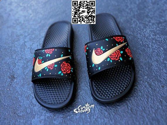 Womens Nike Slider Sandals Custom Nike Benassi by CustomSneakz