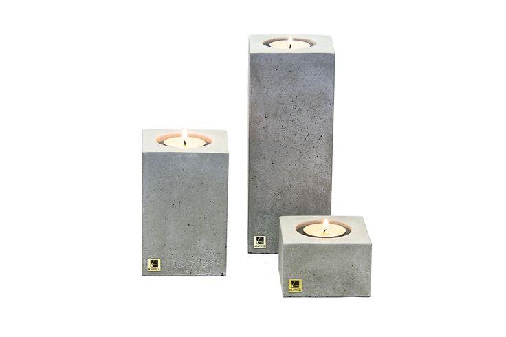 Zestaw trzech świeczników Cobo z betonu architektonicznego