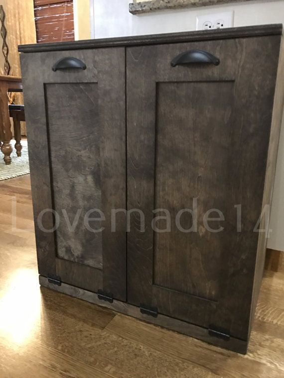 tilt out trash bin double dark walnut stain recycle by Lovemade14