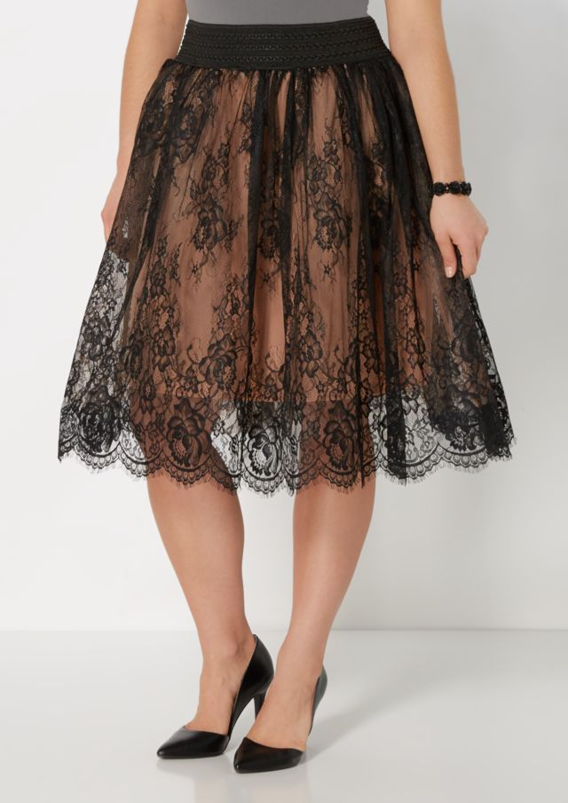 image of Plus Floral Lace Ballerina Skirt