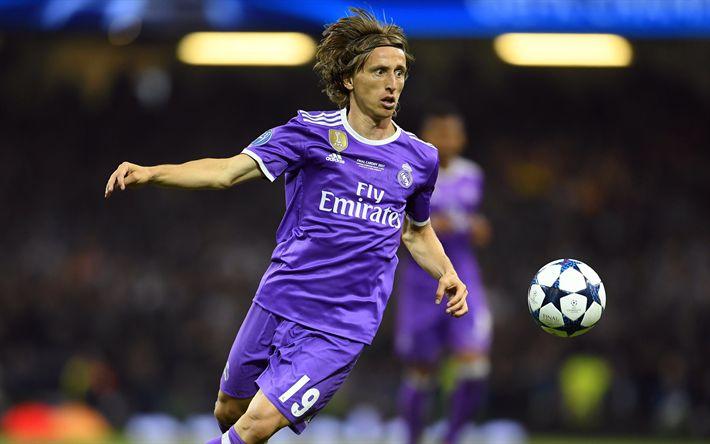 Download imagens Luka Modric, 4k, futebol, La Liga, O Real Madrid, jogadores de futebol