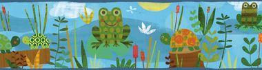 Kermis Frog Marsh Toss Blue Border Wallpaper TOT46332B