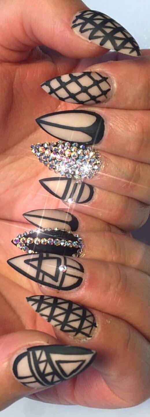 Rhinestone two tone #nails #nailart  @queenofnails