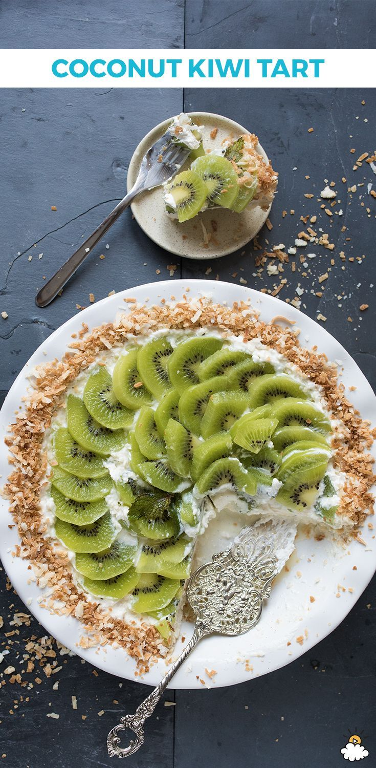 Try this low-calorie #fruit tart #recipe! The substitution of protein rich #yogurt and the combination of kiwi and coconut make this #dessert virtually guilt free!