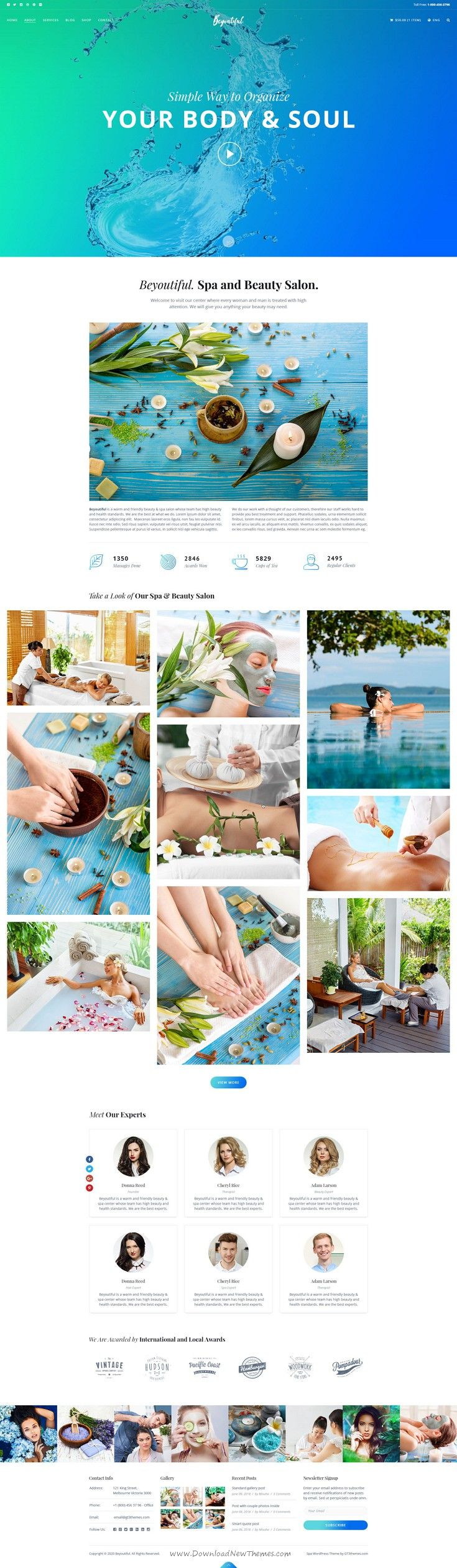 Beyoutiful is beautiful premium PSD #template for #message #Spa, Beauty and Hair Salon website. Download Now!